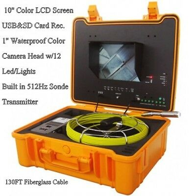 """Sewer Drain Pipe 1"""" Inspection Camera  10"""" Color LCD 130Ft Cable 512Hz Sonde USB"""