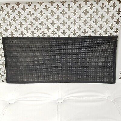 """Collectable True Vintage Singer Sewing Machine Advertising Rubber Mat 20x8.5"""""""