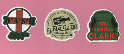 COMEDY MOVIE/TV Sticker Buy 1 get 1 FREE 70s 80s MASH Vacation Forrest Gump