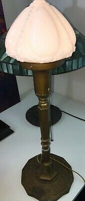 Antique Miller Zodiac Bronze / Brass Table Lamp with Milk Glass Shade. Art Deco.