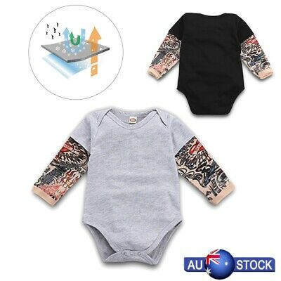 Toddler Kids Baby Tattoo Printed Sleeve Romper Cotton Jumpsuit Bodysuit