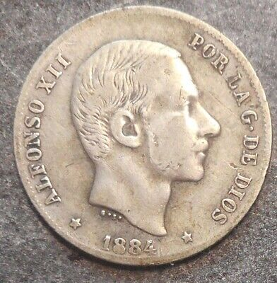 Philippines 1884 20 cents Siver   Coin    Nice