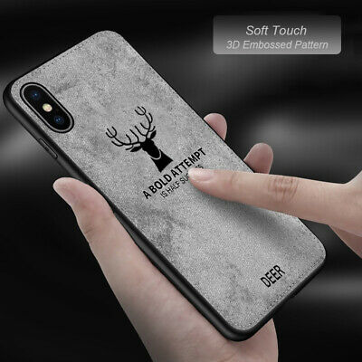APPLE iPhone X XS MAX XR 7 8 Plus Back Stitching Leather Case Cover Deer Pattern