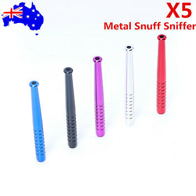 5Pcs Metal Snuff Sniffer Snorter Straw Nasal Tube Colorful Snuffer 68mm Bullet