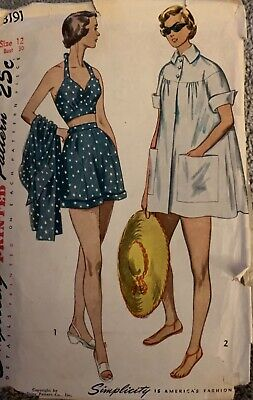 Vintage Simplicity Misses Pattern #3191 Coat Shorts Halter-miss'g 2 pieces sz12