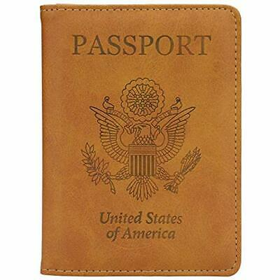 Leather Passport Holder Cover Case RFID Blocking Travel Wallet (California