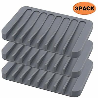 3Pack Silicone Soap Dishes Bathroom, Holders Shower, Savers, Self-draining Home