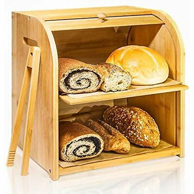Bamboo Bread Box, 2 Layer Rolltop Bin Kitchen, Large Capacity Wooden Storage X