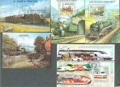Trains-Railways-10 all different min sheets collection