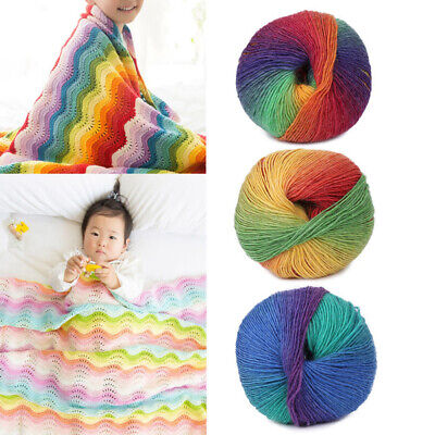 50g/Ball Colorful Wool Blend Hand-woven Crochet Cashmere Knitting Yarn