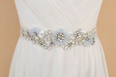 White crystal beaded bridal sash belt with blue flowers