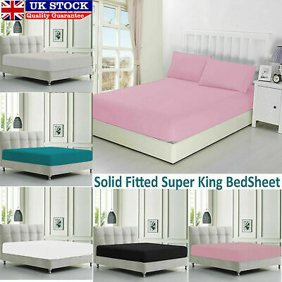 Plain Cover fitted Bedding Set Cotton Single Double King Bed Sheet+2Pillow Cases