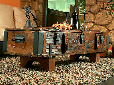 Old Travel Trunk Coffee Table Cottage Steamer Pine Chest Vintage Retro Wooden