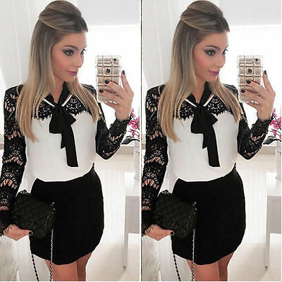 Fashion Women Long Sleeve Bodycon Casual Party Evening Cocktail Lace Mini Dress