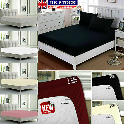 Plain Quilt Cover Fitted Bedding Set Cotton Single Double King Elastic Bed Sheet