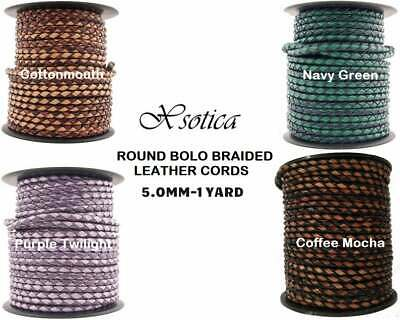Xsotica® 5.0MM Dual Braided Bolo Leather Cords-1 Yard Leather Cord