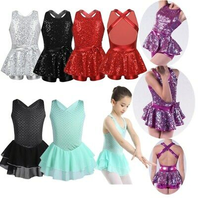 Girls Shiny Ballet Dance Dress Latin Jazz Modern Dancewear Costume Skating Dress