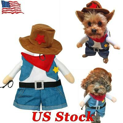 Funny Dog Cat Cool Cowboy Costume For Christmas Halloween Costume Pet Clothes