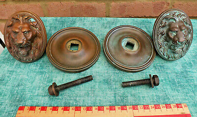 Large Impressive Reclaimed Victorian Bronze/Brass  Door Handles / Pulls Heavy