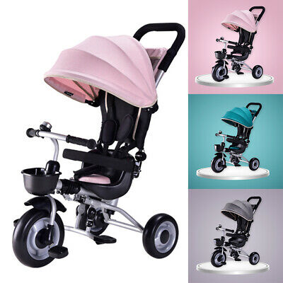 Foldable Deluxe Kids Tricycle Baby Toddler Bike Trike w/ Canopy Parent Push