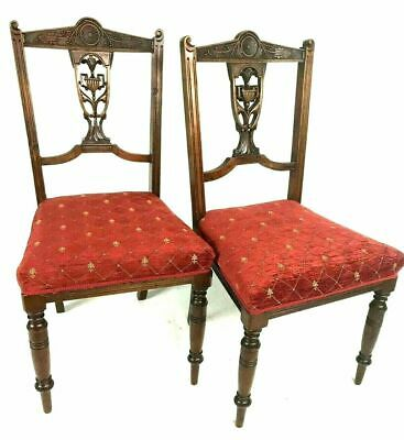 Pair of Antique Victorian Carved Mahogany Chairs [5487]