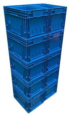 10 x 24 L Heavy Duty KLT Plastic Stacking Euro Storage Containers Boxes Crates