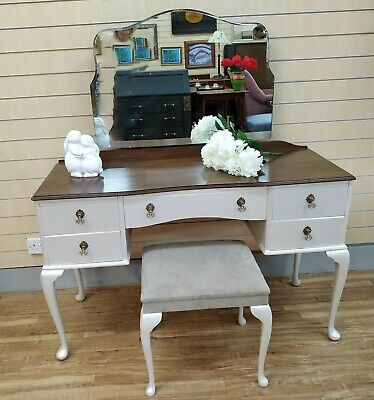 Vintage Dressing Table Queen Anne Style Painted Pearlescent + Mirror + Stool