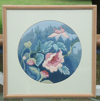 Vintage Semco Long Stitch Embroidery Framed Picture *Pink & Blue Peony Flowers