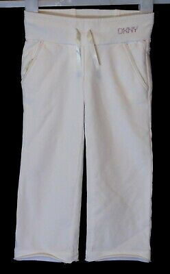 Girls DKNY Designer White Beaded Logo Comfy Casual Jogger Trousers Age 3 Years