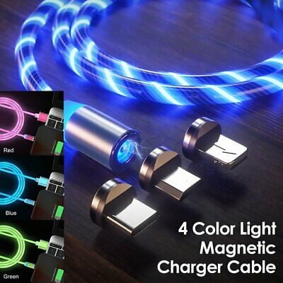 LED Flowing Magnetic USB Charger Fast Charging Cable Cord For IOS TYPE C Android