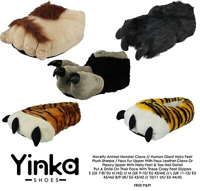 Mens Ladies Monster Claw Hairy Giant Feet Yetti Tiger 3D Novelty Gift Slippers