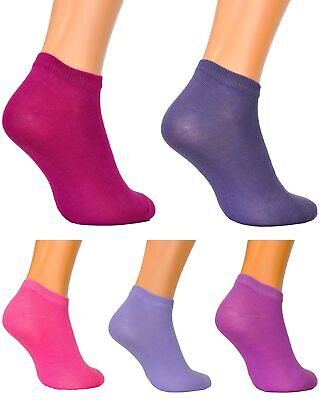 Women Girls Rich Cotton Colourful Sport Trainer Socks Low Cut  5 packs