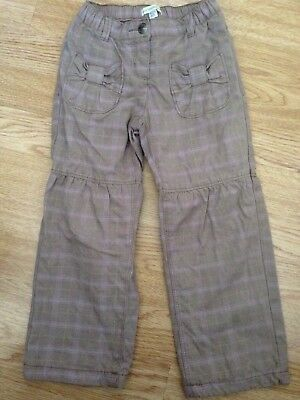 Girls Vertbaudet Cargo Style Taupe Check Trousers 3-4 Years