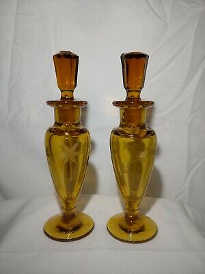 """Vintage Beautiful Pair Etched AMBER GLASS 6"""" Tall Perfume Bottle w/Stopper"""