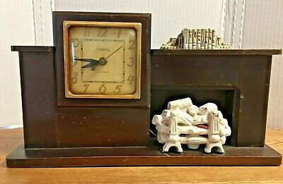 Vintage Working Electric Fireplace Mantle United Clock Co. Brooklyn Mid Century