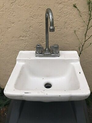 "Small Vintage 16"" Wall Mount 9.5"" Spout Bath Sink Old Shop Wash Room Lavatory"