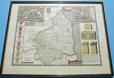 Original John Speed Antique Hand Coloured Map Of Northumberland 1610 1st Ed F&G