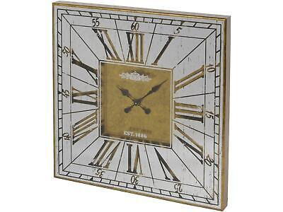 Libra Vienna Antique Gold Large Square Mirrored Wall Clock 80cm