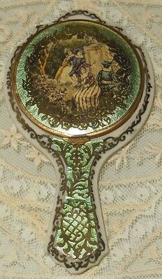 RARE! Antique *French* CELLULOID Mirror Shaped ~Compact~ w *Courting Couples*