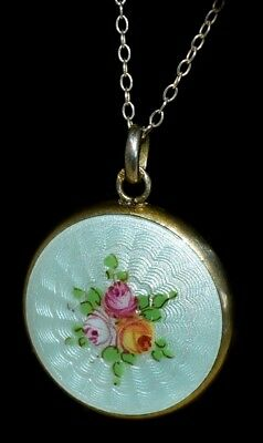 Pretty Antique STERLING SILVER/ENAMEL GUILLOCHE Hand Painted Pendant w SS CHAIN
