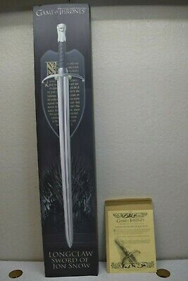 Game of Thrones Longclaw Sword of Jon Snow With Plaque and Cert of Authenticity
