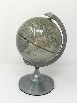 Silver Contemporary Spinning Globe World Map Home Office Ornament