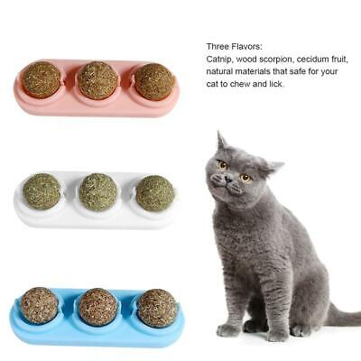 3x Cat Natural Catnip Ball Toy Kitten Treat Ball Cat Playing Cleaning Teeth Toy