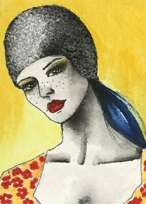 Original ACEO painting. Cute female portrait with silver hat by Viviana Scala