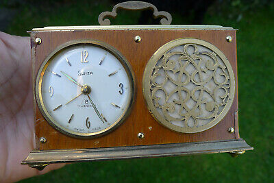 Vintage SWIZA 8-day Musical Box ALARM clock in the form of a vintage radio