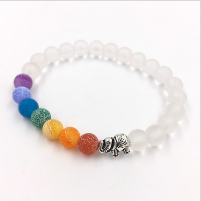 Chakra Diffuser Bracelet with Essential Oil Set - Lava Stone Healing Beads White