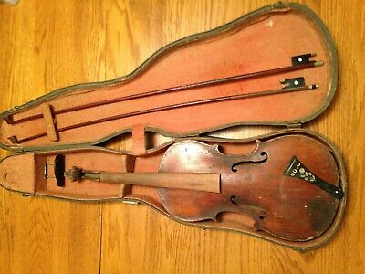 Vintage antique violin viola Maybe French signed Blondin two bows case chin rest