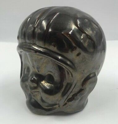 Vintage Football Player Boy Head Ceramic Piggy Coin Bank Bronze Finish
