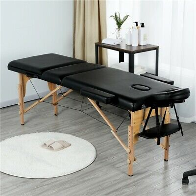 New Massage Table Spa Bed Portable 3 Folding Beauty Salon Tattoo Therapy Couch