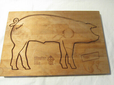 Vintage Solid hard wood One piece Master Mix Arnold Carved Pig Cutting Board